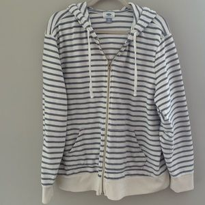 Blue and cream striped hoodie from Old Navy